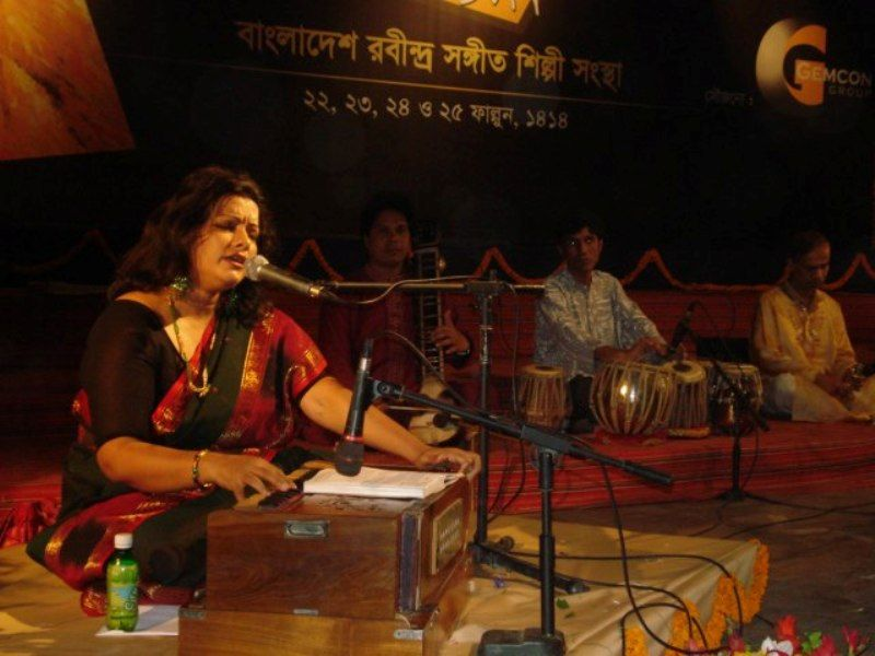 A Group of Artists Performing on Rabindra Sangeet