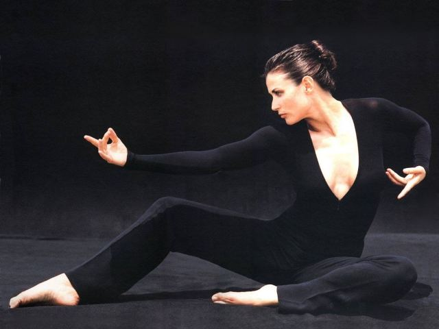 Demi Moore doing Yoga