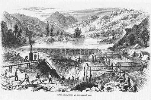 Gold seeking river operations,California