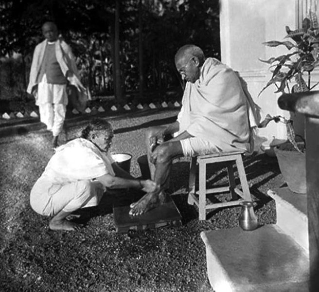 Kasturba Gandhi Washing The Feet Of Mahatma Gandhi