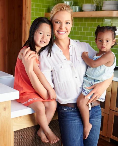 Katherine Heigl with her two adopted girls
