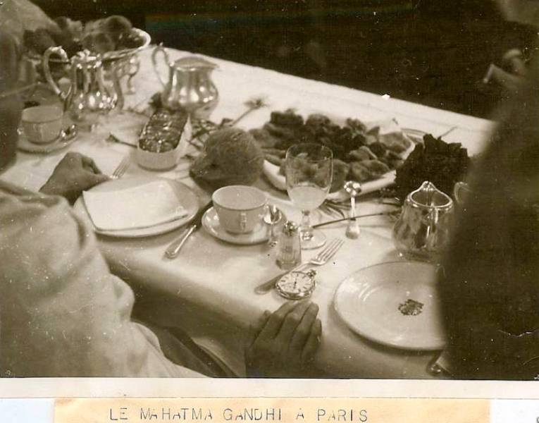 Mahatma Gandhi At A Dinner In Paris