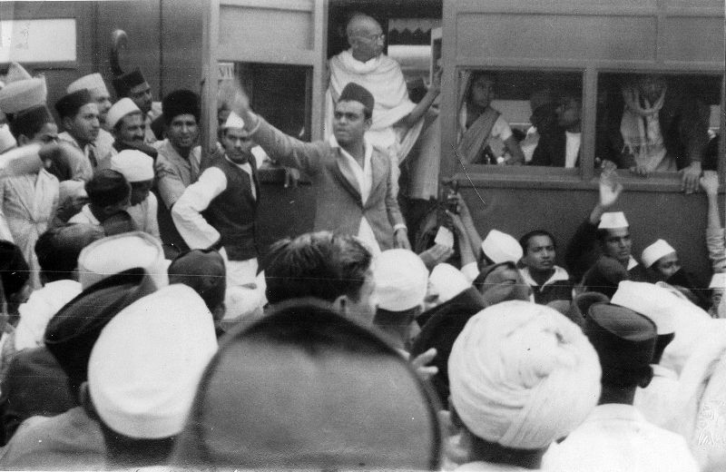 Mahatma Gandhi Stepping Down From A Train