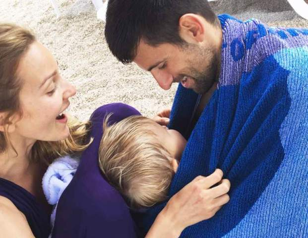 Novak Djokovic with his wife and son