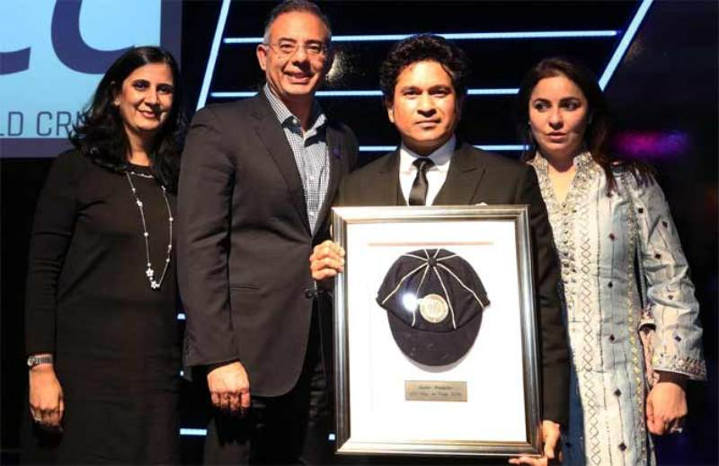 Sachin Tendulkar Posing After Being Inducted into ICC's Hall of Fame
