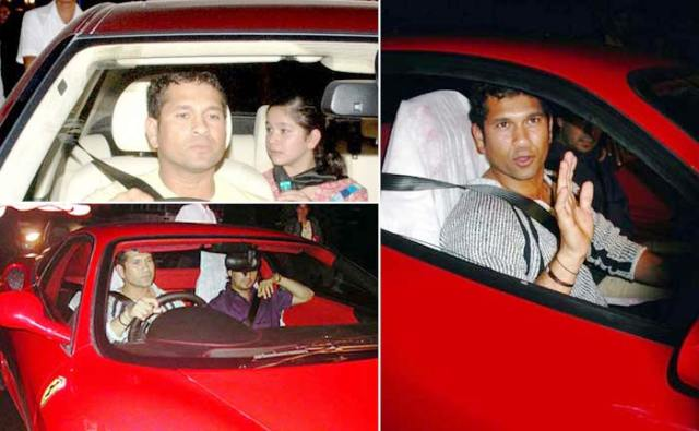 Sachin Tendulkar with his Ferrari