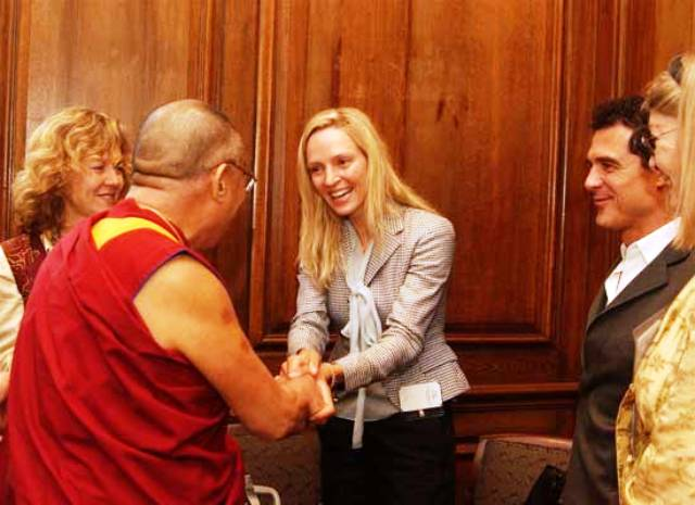 Uma Thurman with Dalai Lama