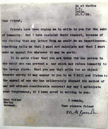 Mahatma Gandhi's Letter To Adolf Hitler