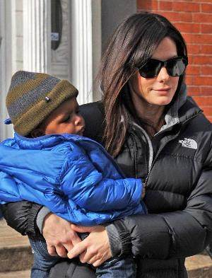 sandra bullock with her son