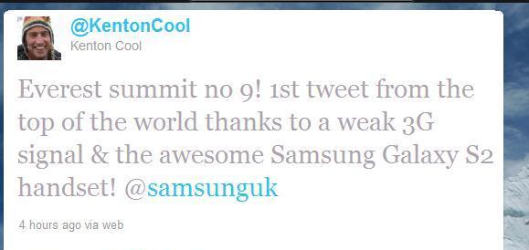 1st tweet from mount everest