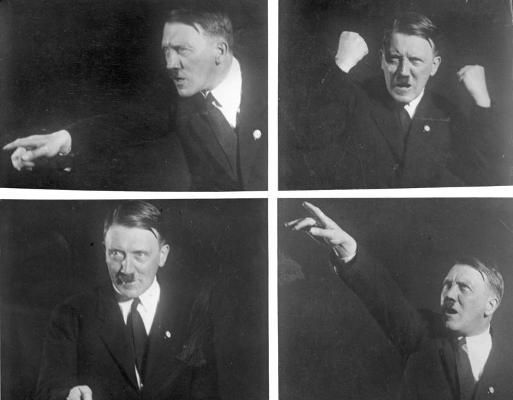 Heinrich Hoffman's photographs of Hitler making speech