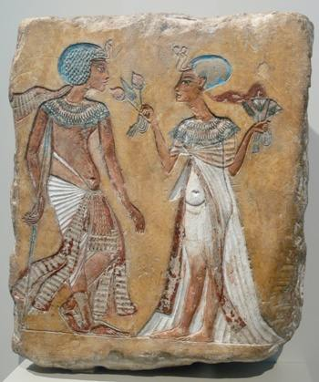 Probable painting of king Akhenaten and Queen Nefertiti