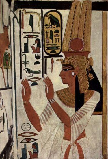 Tomb wall depicting Queen Nefertari, the great royal wife of Pharaoh