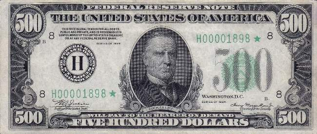 US currency, $500