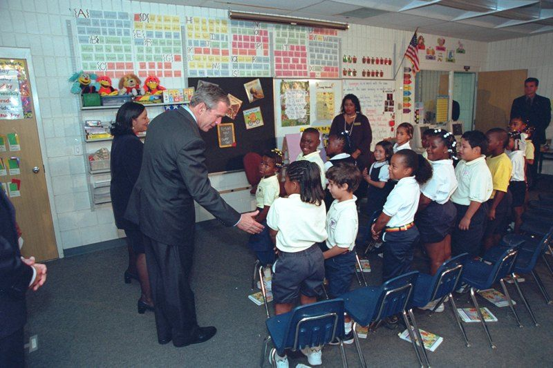 George W Bush Interacting With The Students of Emma E. Booker Elementary School in Florida Hours Before the Nine Eleven Attacks