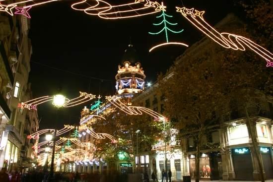 Spain, Barcelona, Porta Angel Navidad
