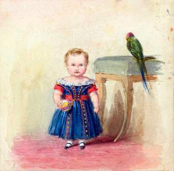 Prince of Wales with a parrot by Queen Victoria