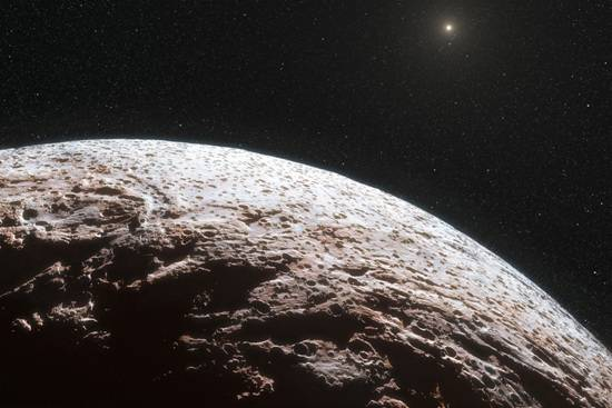 artist's impression of surface of pluto