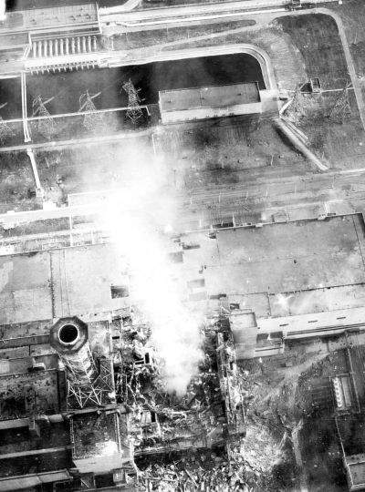 Chernobyl burning aerial view of core