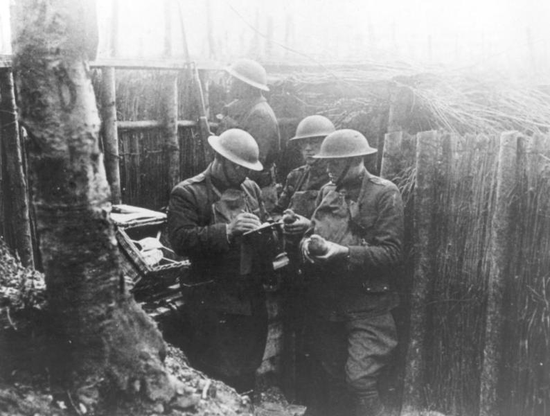 Soldiers Reading Letters During World War 1