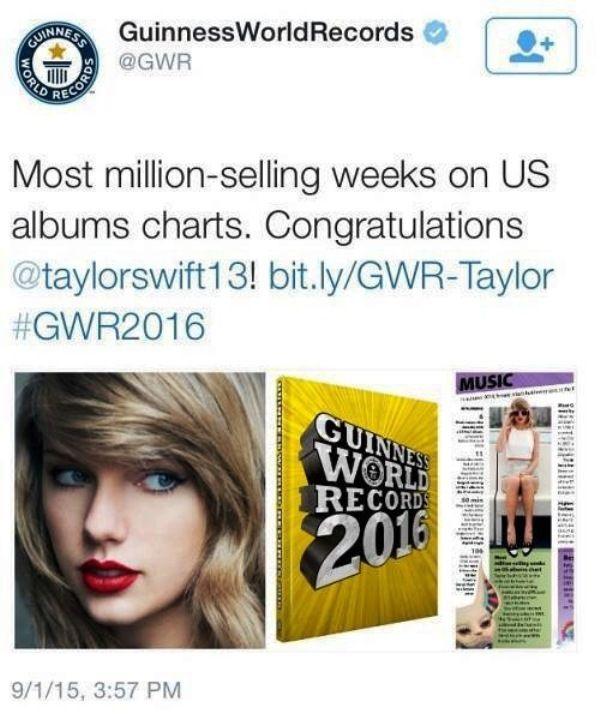Taylor Swift Guinness World Records