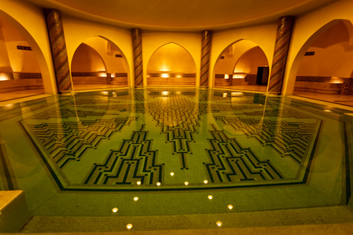 Bathing pool inside of Hammam turkish bath Morocco