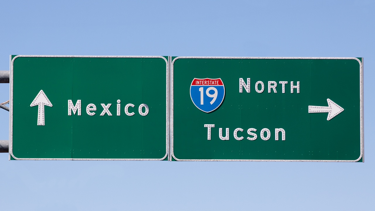 Border - Roadsign pointing between Nogales, mexico and Tucson_3