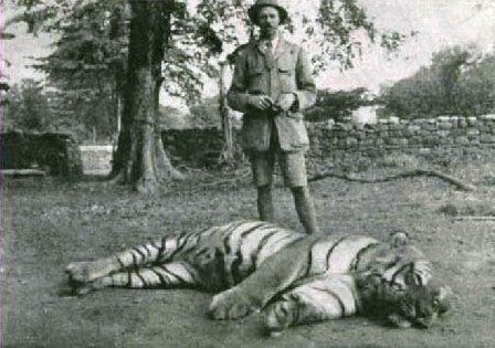 Jim Corbet with the dead Champawat Tigress in 1911