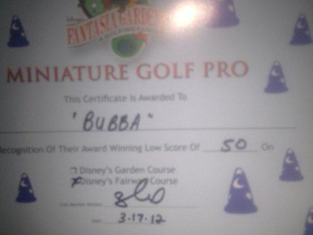 Bubba Watson golf certificate