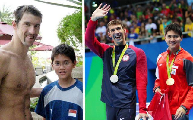 Joseph Schooling with Michael Phelps