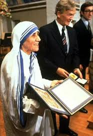Mother Teresa with Nobel Award