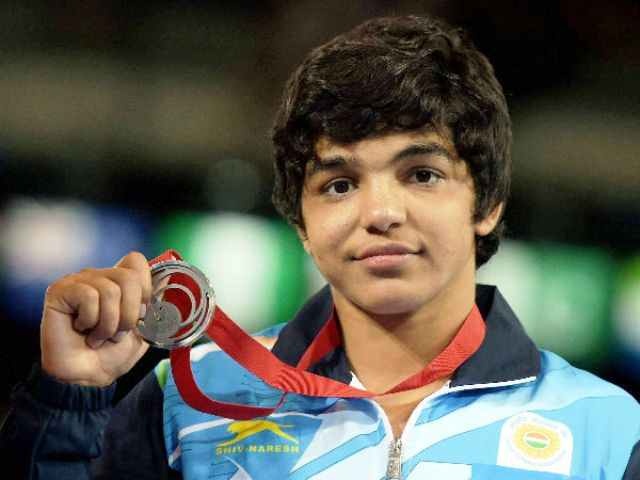 Sakshi Malik with Silver medal at the 2014 Commonwealth Games
