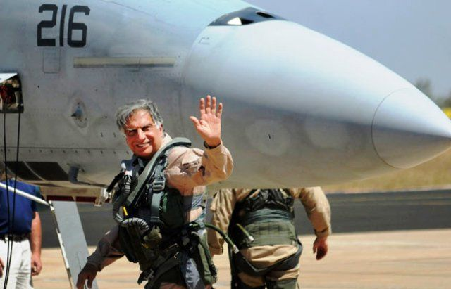 Ratan Tata flying F-16