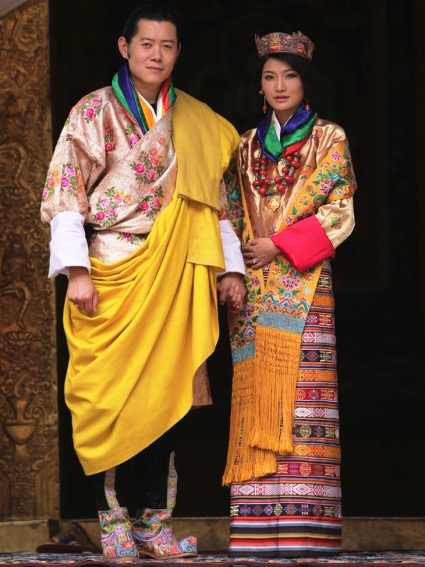 The Royal Couple Of Bhutan In The Ethnic Dress Of Bhutan