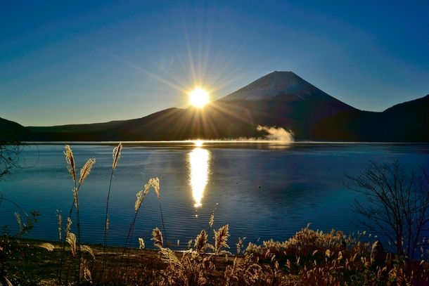 A crisp sunrise on Mt Fuji from Lake Motosu, Japan