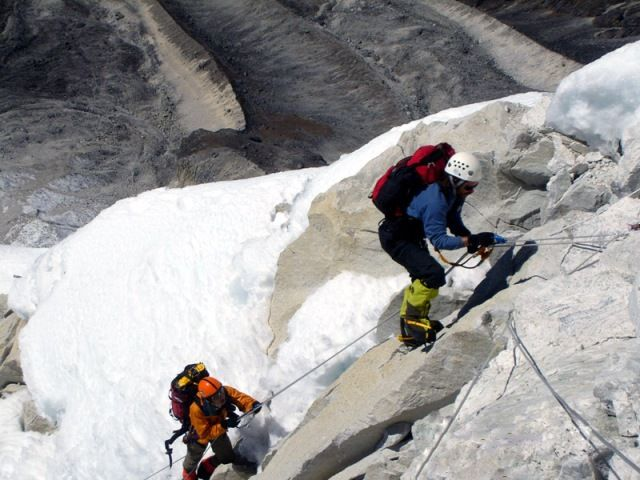Climbers on Ama Dablam, Nepal