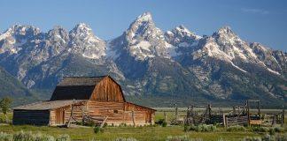Grand Teton Mountain from Jackson Hole Valley, Wyoming, USA