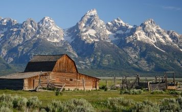 Grand Teton Mountain from Jackson Hole Valley, Wyoming, USA