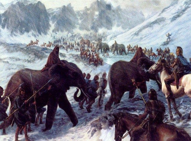 Hannibal's arrival at the Alps