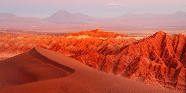 Reddish Dunes and Hills in the Moon Valley Atacama Desert Chile