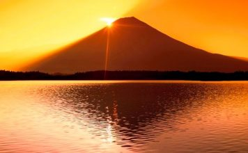 Sunrise over Mt Fuji and Tanuki Lake Shizuoka, Japan