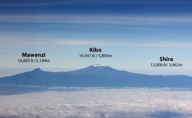 Three Volcanic Cones of Mt. Kilimanjaro
