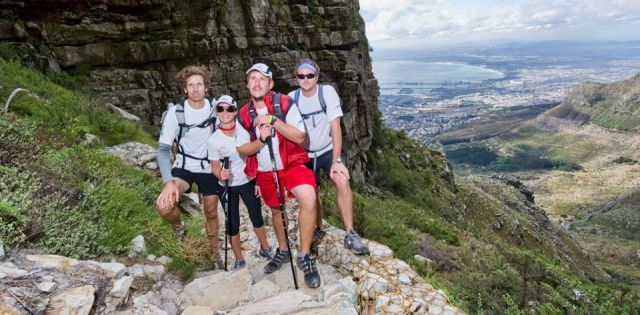 Tourists hiking Table Mountain