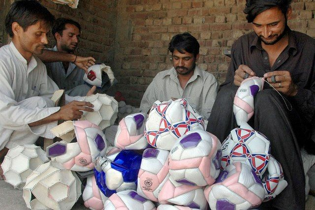 Football stitchers in Sialkot, Pakistan