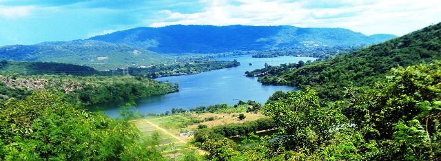 Panorama and landscape of Lake Volta in Ghana