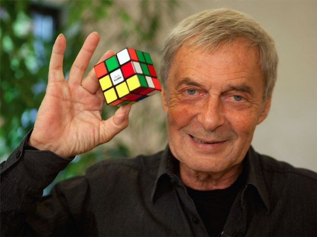 Erno Rubik with Cube
