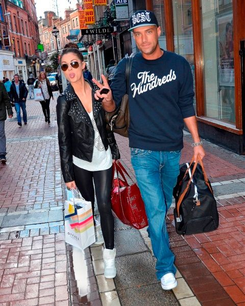 Madeline Mulqueen and new boyfriend Calum Best walking together along Grafton Street Dublin, Ireland