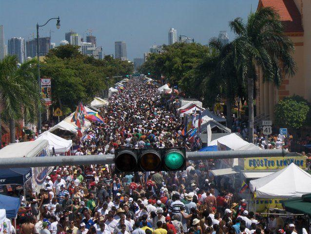 People Celebrating Calle Ocho Festival