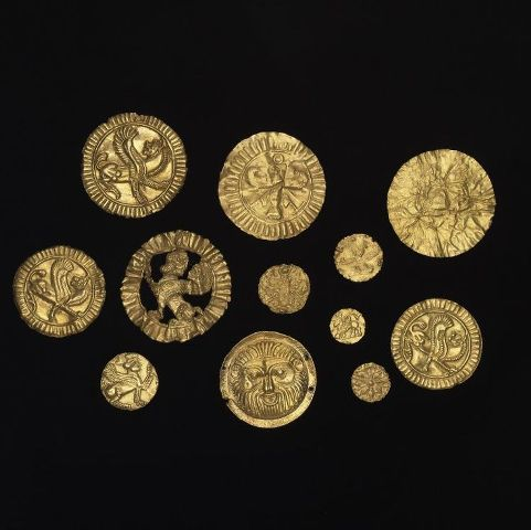 Gold plaques used to attach to clothing. Oxus Treasure