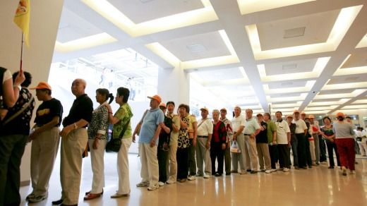 The visitors line at the National Palace Museum in Taipei, Taiwan